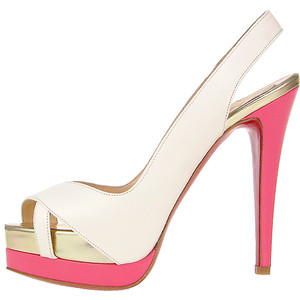 f548873c2457 Charlotte also wears the pink and white Christian Louboutin Very Croise  platform sandal ...